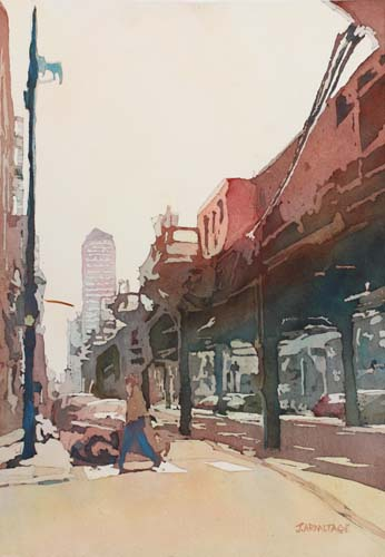 The El, Original Painting of Downtown Chicago, by Watercolorist, Jenny Armitage
