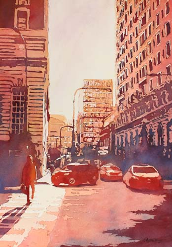 Twilight Off Michigan Ave, Watercolor Painting of Chicago, by Jenny Armitage
