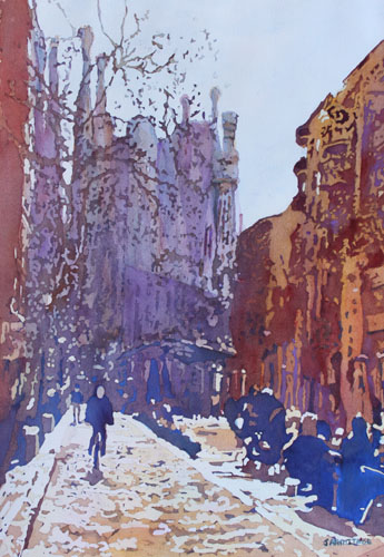 On the Way to the Sagrada Familia, Painting of Barcelona By Jenny Armitage