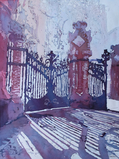 Sant Paus Gates, Painting of Sant Pau Hospital by Jenny Armitage