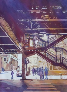 Under the El, Original Painting of Chicago Illinois, by Jenny Armitage