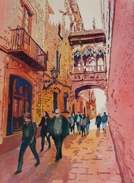 Barcelona Gothic, Painting of the Pont del Bisbe by Jenny Armitage