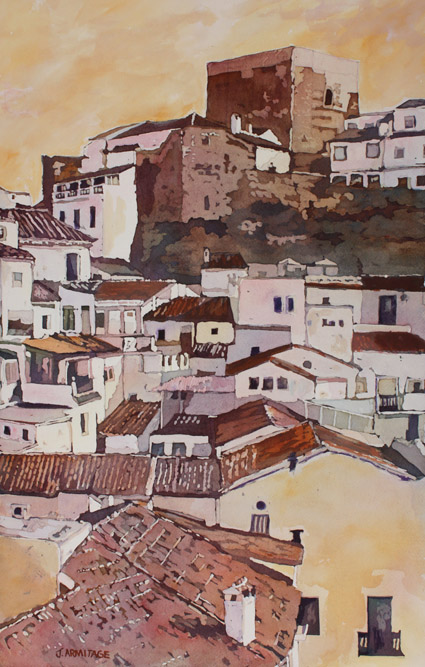 Setinel Fortress, Original Painting of Pueblos Blancos by Jenny Armitage