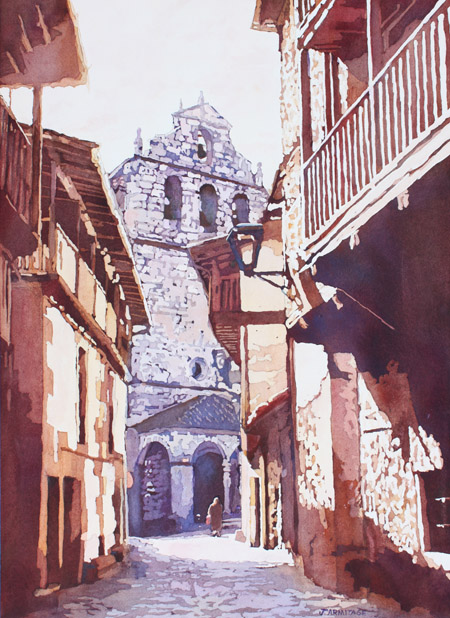 The Church in San Martin, Watercolor of Spanish Mountain Village by J. Armitage