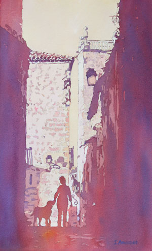 A Doggie Moment, Original Watercolor of Caceres, Spain by Jenny Armitage