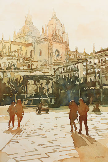 April on the Plaza Mayor, Original Painting of Spain, by Jenny Armitage