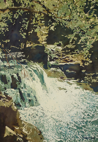 Aqua Falls, Original Painting of Opal Creek by Jenny Armitage