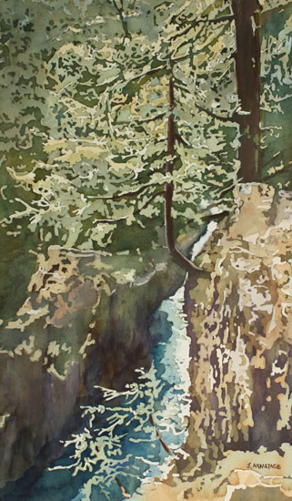 Hanging Out at Opal Creek, Oregon Painting by Jenny Armitage