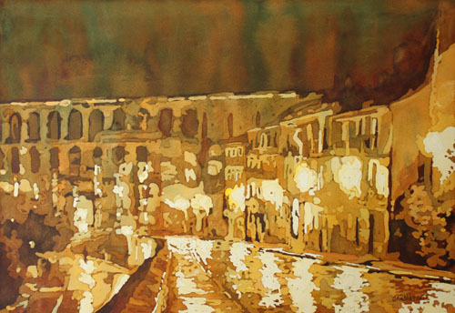 Leaving Segovia, Rainy Night Painting of the Aqueduct By Jenny Armitage