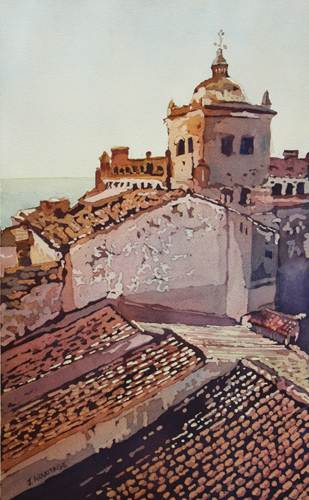 Over the Rooftops, Original Painting of Caceres Spain by Jenny Armitage