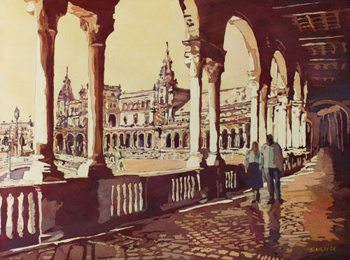 Strolling the 1929 Expo, Original Painting of Sevilla, by Jenny Armitage