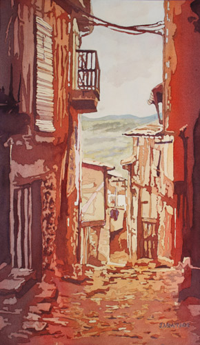 The View From Miranda, an Original Painting of Miranda del Canastar by Jenny Armitage