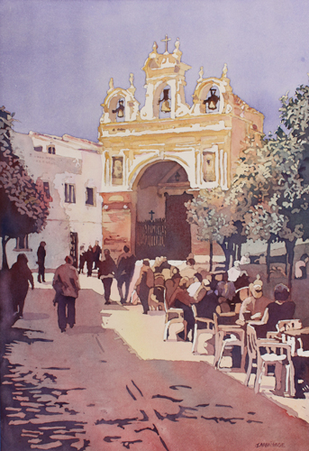 The Yellow Church, Watercolor Painting of the Torre del Reloj by Jenny Armitage