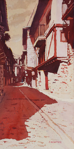 Via Miranda, Original Painting of Spanish Village by Jenny Armitage