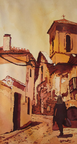 Backstreet Granada, Original Painting of Spain by Jenny Armitage