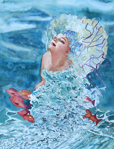 Birth of Venus Two, Watercolor Painting by Jenny Armitage