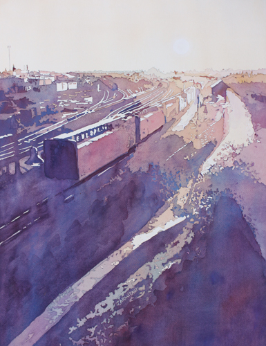 Freight at Duck, Original Painting by Jenny Armitage