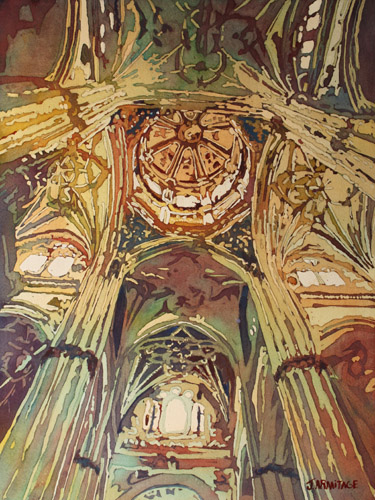 Looking Up, an Original Painting of a Gothic Cathedral, by Jenny Armitage