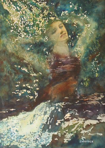 Waking Forest, Original Painting of a Nymph by Jenny Armitage