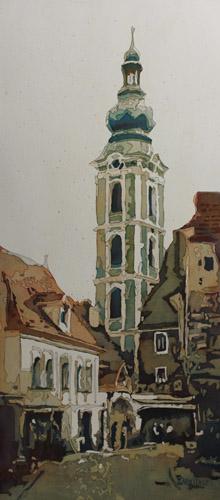 Saint Jost Church, Original Painting of Cesky Krumlov by Jenny Armitage
