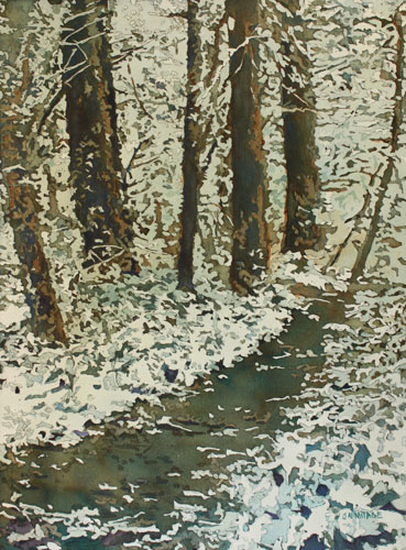 Spring Snow on Croisan Trail, Original Painting by Jenny Armitage
