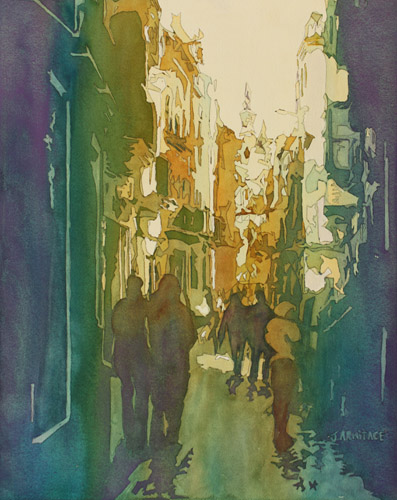 To The Cathedral, Watercolor Painting of Seville, Spain by Jenny Armitage