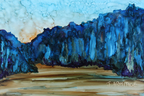 Blue Mountains II, Small Original Painting by Jenny Armitage