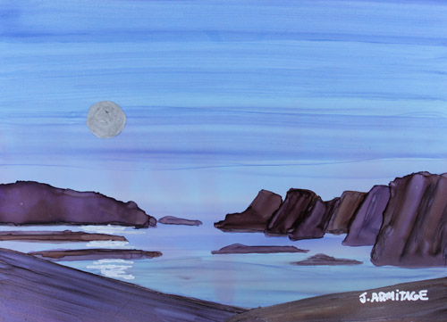 Coastal Moon, Small Original Painting by Jenny Armitage