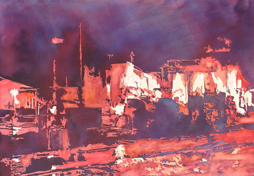 Millersberg, Watercolor Painting of a Nightlit Chemical Plant by Jenny Armitage