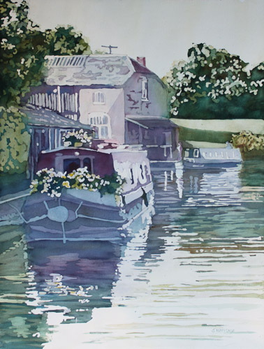 Moored Garden, Original Painting of a Narrowboat, by Jenny Armitage