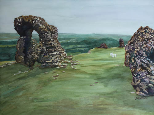 The Bones of Dinas Bran, Original Watercolor Painting by Jenny Armitage