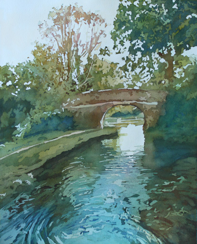 The Bridge in Our Wake, Watercolor of the Llangollen Canal by Jenny Armitage