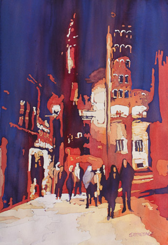 Barcelona Night, Original Painting of Spain by Jenny Armitage