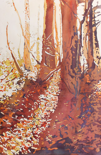 Fall Light on Croisen Trail, Original Watercolor By Jenny Armitage