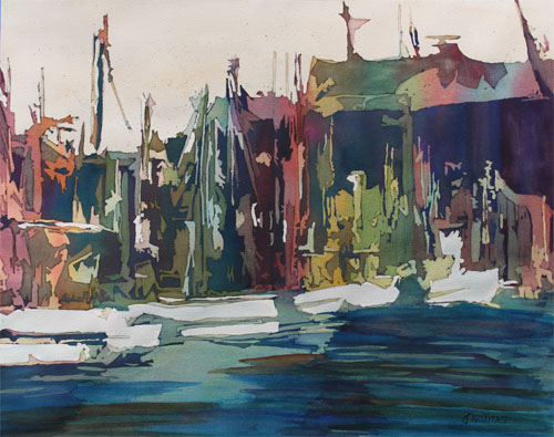 Harbor Abstract I, Original Painting by Jenny Armitage