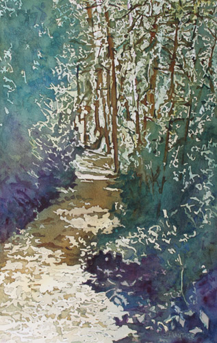 Dappled Spring Trail II, Original Painting by Jenny Armitage