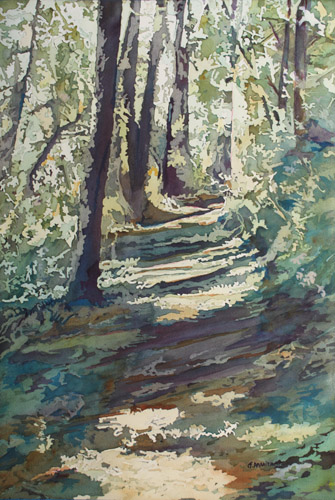 Dappled Spring Trail, Original Painting By Jenny Armitage