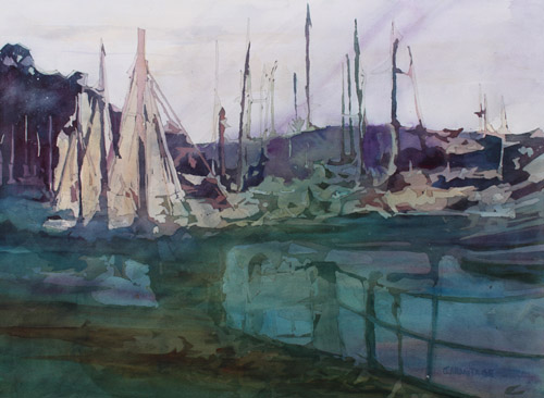 Harbor Abstract II, Watercolor Painting by Jenny Armitage