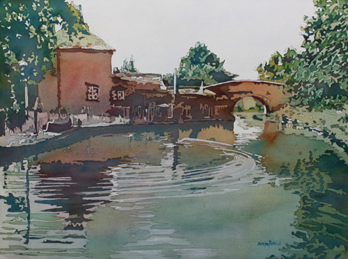 Stone Drop Before the Bridge, Watercolor Painting by Jenny Armitage