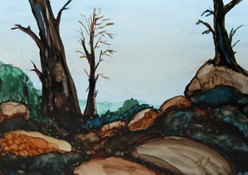 Three Trees in a Stony Landscape, Alcohol Ink Painting by Jenny Armitage