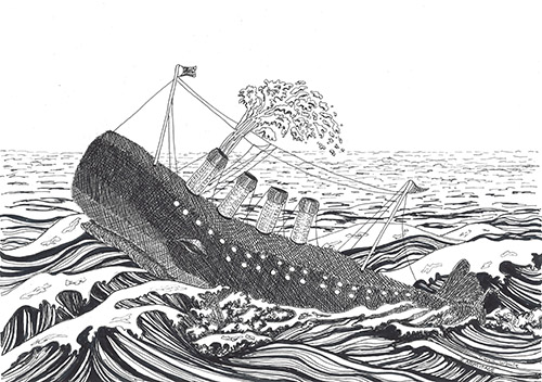 The Whale Titanic Surrealistic Drawing by Jenny Armitage
