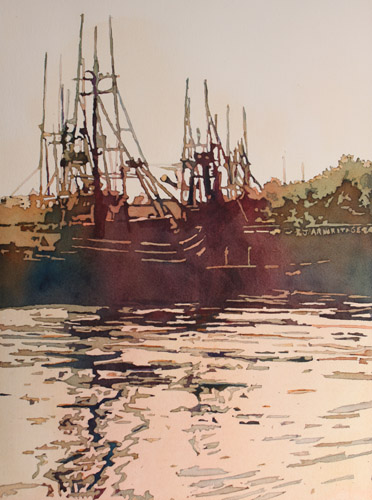 Harbor Ripples, Original Painting by Jenny Armitage