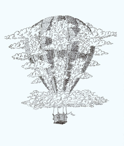 Cold Air Balloon, Surreal Balloon in Pen and Ink by Jenny Armitage