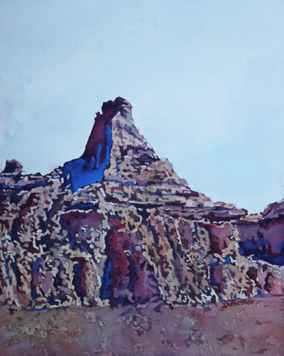 Chimney Rock, Watercolor of Badlands National Park by Jenny Armitage