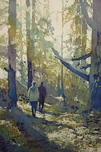 Into the Woods, Forest Painting by Jenny Armitage