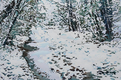 Beginning to Melt, original watercolor of melting snow, by Jenny Armitage