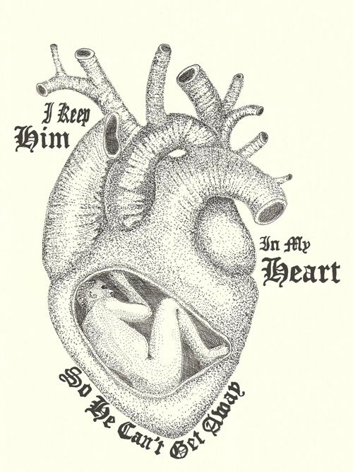 I Keep Him in My Heart, Pen and Ink Drawing By Jenny Armitage