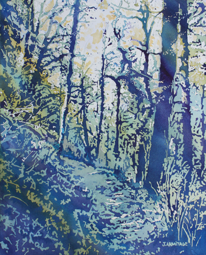 Just Below the Hilltop, Original Forest Painting by Jenny Armitage
