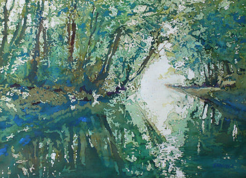 Green Reflections, Original Watercolor by Jenny Armitage