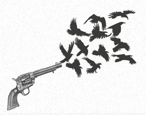 Murder of Crows, Pen and Ink Drawing by Jenny Armitage